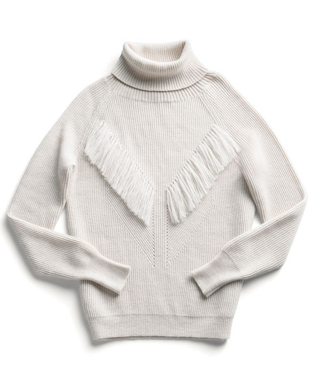 Long-Sleeve Fringe-Detail Sweater, Oatmeal