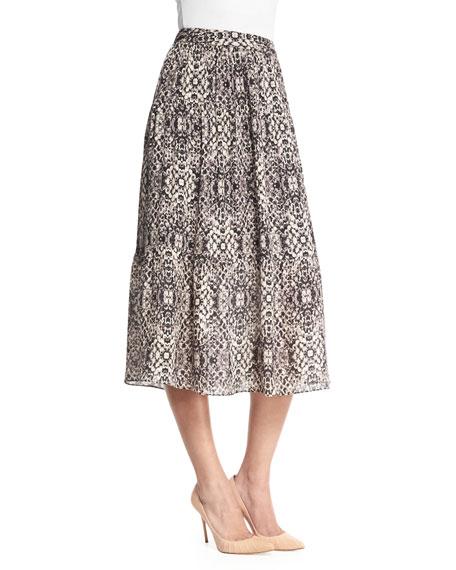 Haute Hippie Printed Silk Midi Skirt, Shadow Snake