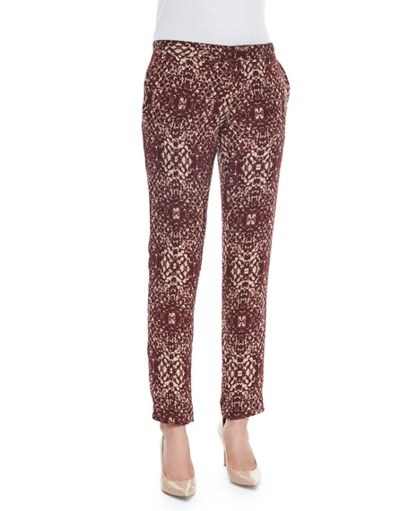 Haute Hippie The Tailored Slim Shady Pants, Shadow Snake Merlot