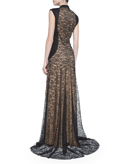 Lace Mock-Neck Gown with Suede, Black