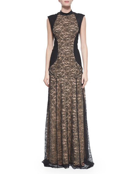 Haute Hippie Lace Mock-Neck Gown with Suede, Black