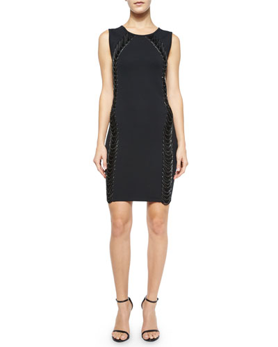 Sleeveless Chain-Embellished Dress, Black