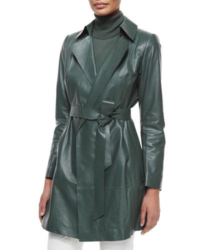 Jeanette Belted Lambskin Coat