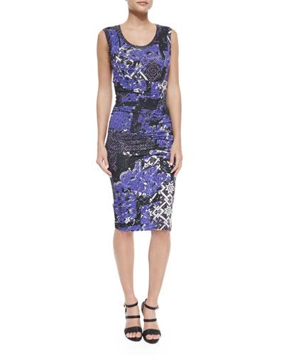 Sleeveless Gathered Multipattern Sheath Dress, Black/Purple