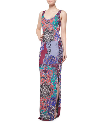 Sleeveless Scoop-Neck Printed Maxi Dress, Multi Colors