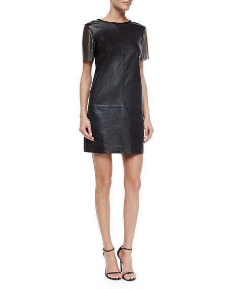 Nicole Miller Short-Sleeve Leather Sheath Dress, Black