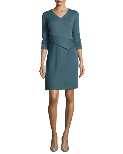 3/4-Sleeve Layered Wrap Dress
