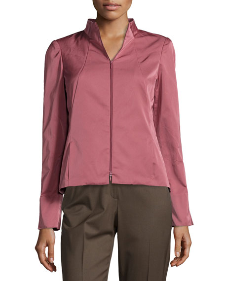 Lafayette 148 New York Amia Sateen Two-Zip Jacket
