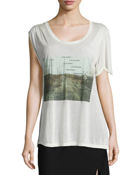 Haute Hippie I Lost Myself Asymmetric Graphic Tee,