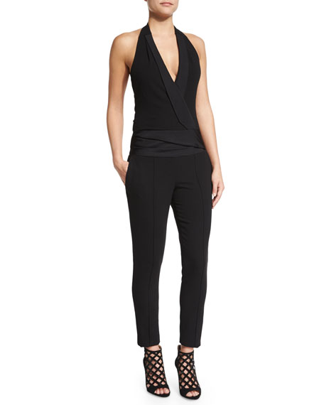 Halter Tuxedo Jumpsuit, Black