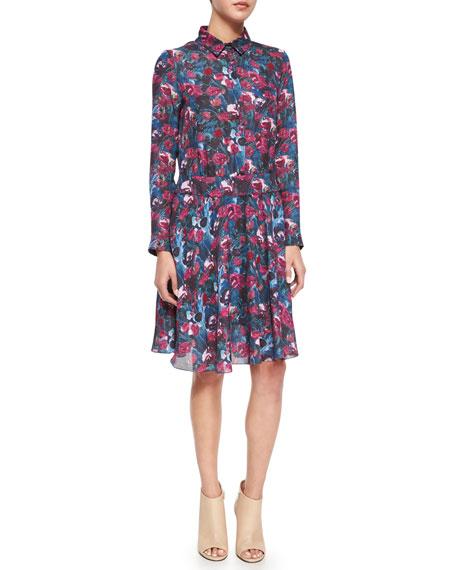 Haute Hippie Long-Sleeve Floral-Printed Henley Shirtdress