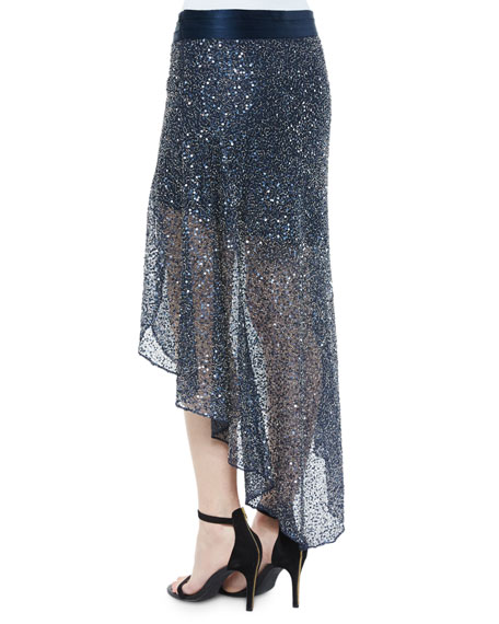 Sequin-Embellished Mesh Skirt, Midnight