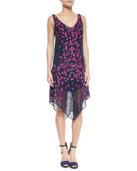 Haute Hippie Floral-Embellished Sleeveless Dress, Midnight