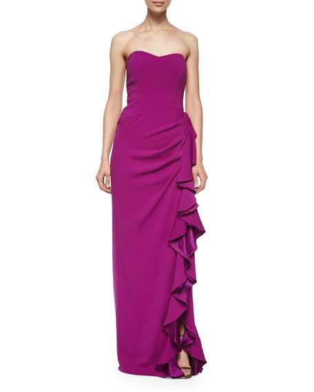 Badgley Mischka Strapless Layered-Ruffle Gown, Orchid