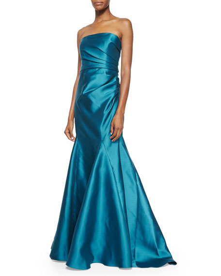 Badgley Mischka Strapless Ruched-Side Ball Gown, Peacock