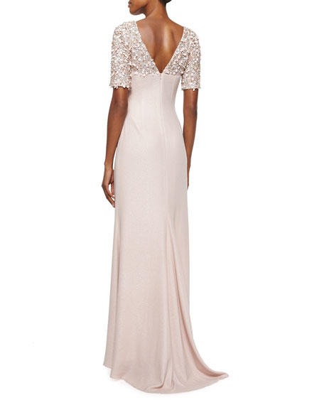 Beaded-Sleeve Mermaid Gown, Blush