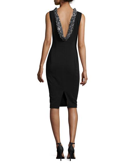 Sleeveless Beaded-Cowl-Back Dress