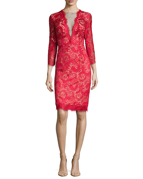 Jovani 3/4-Sleeve Lace Cocktail Dress