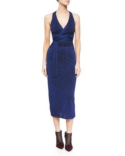 Sleeveless Metallic Knit Tie-Waist Dress