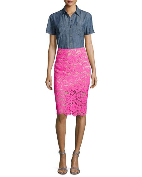 Short-Sleeve Chambray Button Shirt, Indigo