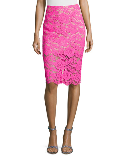Sheer Lace Pencil Skirt, Fuchsia