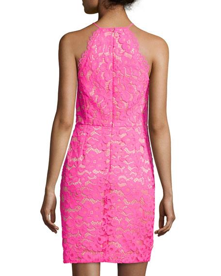Sleeveless Lace Sheath Dress, Fuchsia