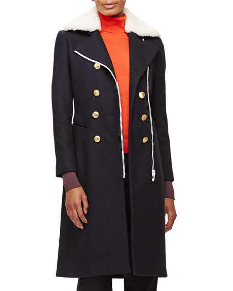 Rag & Bone Sullivan Double-Breasted Coat w/Shearling Collar