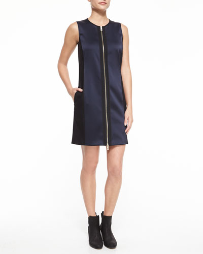 Prospect Zip-Front Silk Dress, Navy