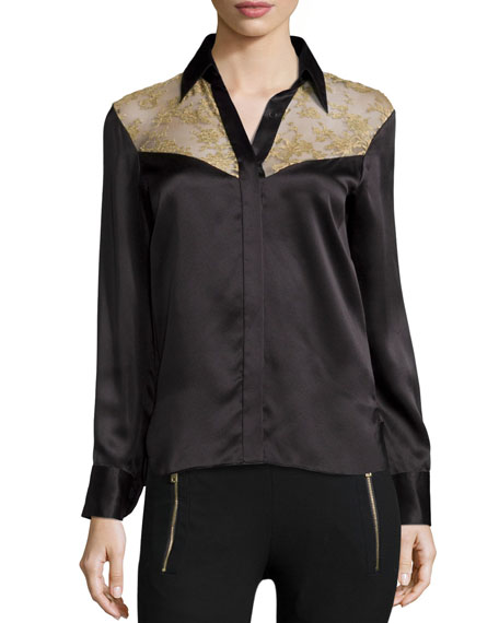 Rag & Bone Angela Floral-Panel Silk Shirt, Licorice