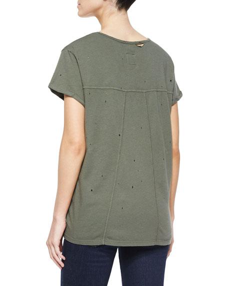 Jersey Tee w/ Distressing, Army Green
