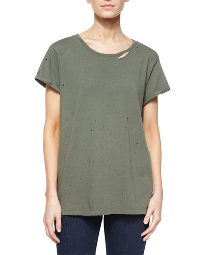 Jersey Tee w/ Distressing, Army Green