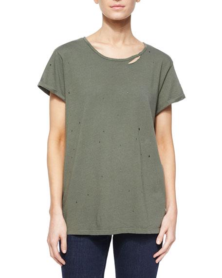 RtA Denim Jersey Tee w/ Distressing, Army Green