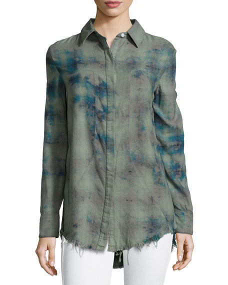 RtA Joplin Paint-Splatter Plaid Shirt