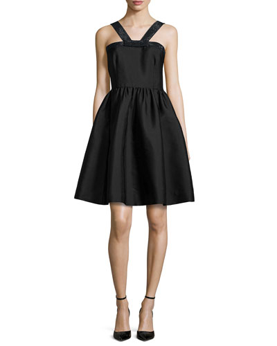 sleeveless metallic-trim a-line dress, black
