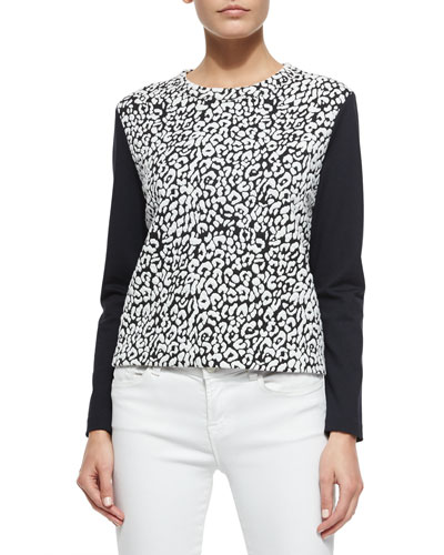 long-sleeve leopard-print top, cream/black