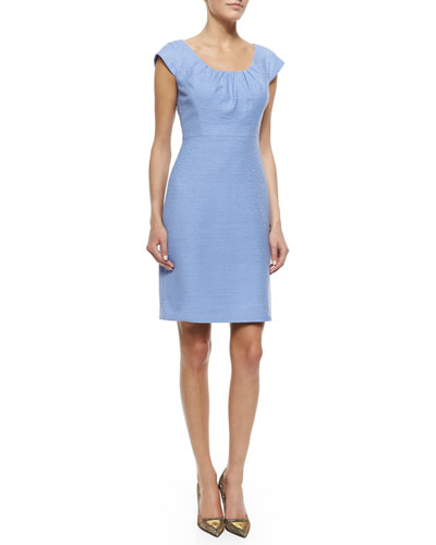 cap-sleeve tweed sheath dress, pale aster