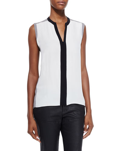 Karrie Sleeveless Silk Colorblock Blouse