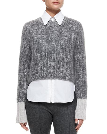 Makenna Cropped Knit Sweater, Light Gray