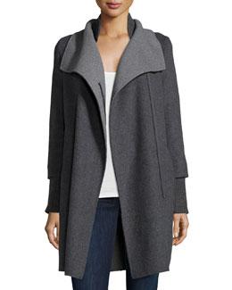 Oversize-Collar Hooded Coat