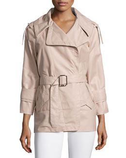 French Plonge Leather Trench Coat, Flesh