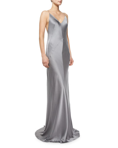 Sleeveless Charmeuse Gown, Storm