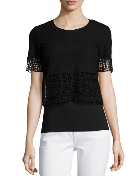 Elie Tahari North Cropped Blouse W/ Lace Trim