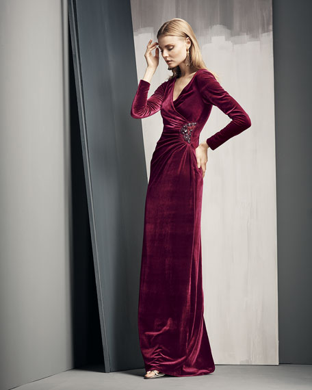 Long-Sleeve Faux-Wrap Gown, Merlot