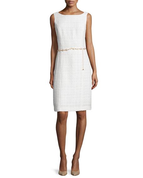 Tahari Sleeveless Tweed Dress & Jacket w/Belt