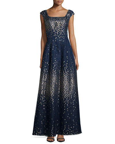 Metallic Dot Cap-Sleeve Gown