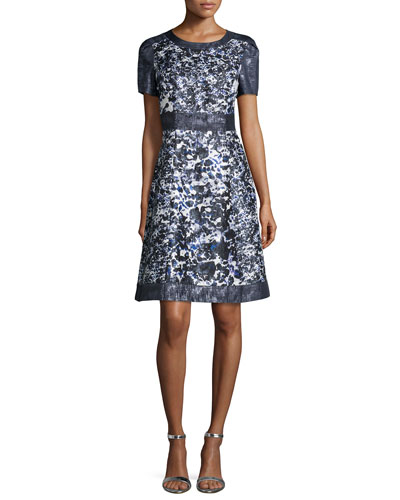 Short-Sleeve Floral-Print A-line Cocktail Dress