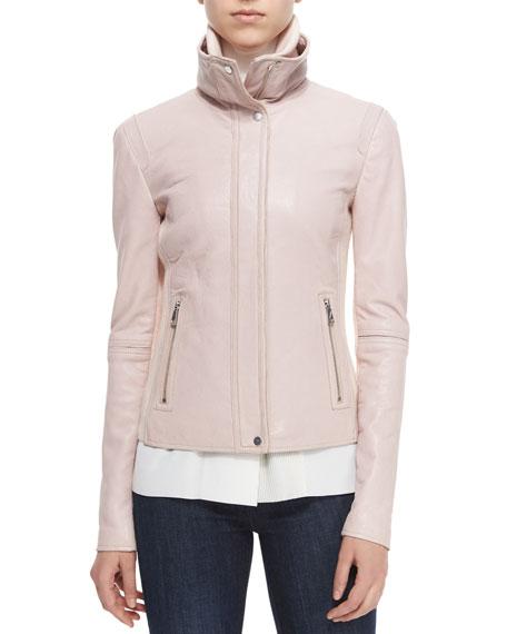 Funnel-Neck Lambskin Leather Jacket, New Buff