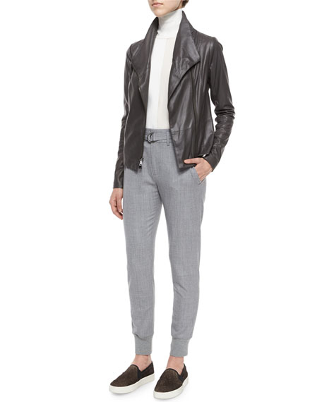 Knit-Cuff Belted Jogger Suit Pants