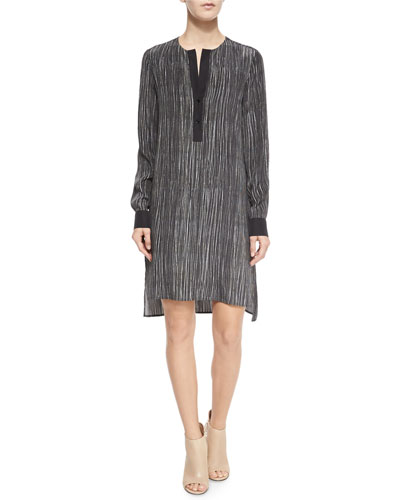 Long-Sleeve Striped Silk Dress