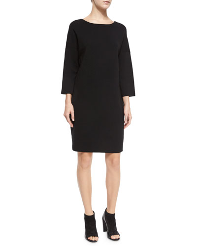 Ribbed Knit Cowl-Neck Sweaterdress